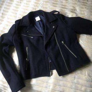 Gap Navy Blue Wool Moto Jacket
